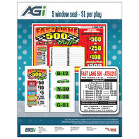 Fast Lane 5 Window Pull Tab Tickets - 1000 Tickets per Deal - Total Payout: $680