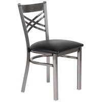 Lancaster Table & Seating Clear Coat Steel Cross Back Chair with 2 1/2 inch Black Padded Seat