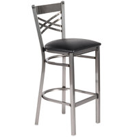 Lancaster Table & Seating Clear Coat Steel Cross Back Bar Height Chair with 2 1/2 inch Black Padded Seat