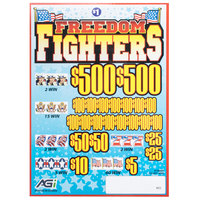 Freedom Fighters 5 Window Pull Tab Tickets - 4000 Tickets per Deal - Total Payout: $3000