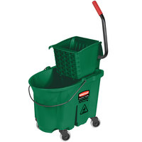 Rubbermaid FG758888GRN WaveBrake® 35 Qt. Green Mop Bucket with Side Press Wringer