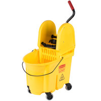Rubbermaid FG757900YEL WaveBrake® 35 Qt. Yellow Institutional Mop Bucket with Down Press Wringer