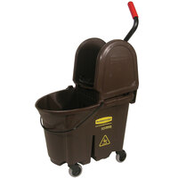 Rubbermaid FG757788BRN WaveBrake® 35 Qt. Brown Mop Bucket with Down Press Wringer