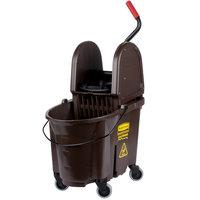 Rubbermaid FG757788BRN WaveBrake&#174&#x3b; 35 Qt. Brown Mop Bucket with Down Press Wringer