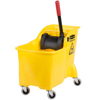 Rubbermaid FG738000YEL Tandem 31 Qt. Yellow Mop Bucket with Reverse Press Wringer