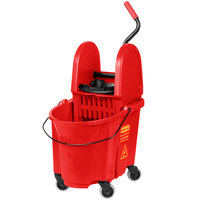 Rubbermaid FG757888RED WaveBrake&#174&#x3b; 35 Qt. Red Mop Bucket with Down Press Wringer