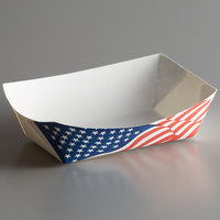 #250 2.5 lb. USA Flag Paper Food Tray - 250/Pack