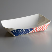 #500 5 lb. USA Flag Paper Food Tray - 250/Pack