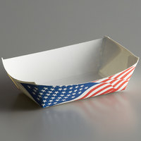 #25 1/4 lb. USA Flag Paper Food Tray - 250/Pack