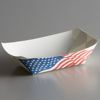 #50 1/2 lb. USA Flag Paper Food Tray - 250/Pack