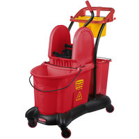 Rubbermaid FG777700RED WaveBrake® 35 Qt. Red Mopping Trolley with Down Press Wringer