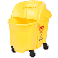 Rubbermaid FG759088YEL WaveBrake&#174&#x3b; 35 Qt. Yellow Institutional Mop Bucket with Sieve Wringer