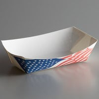 #100 1 lb. USA Flag Paper Food Tray - 250/Pack