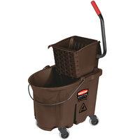 Rubbermaid FG758088BRN WaveBrake&#174&#x3b; 35 Qt. Brown Mop Bucket with Side Press Wringer