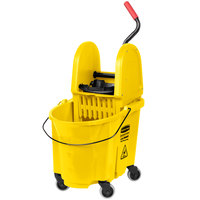 Rubbermaid FG757788YEL WaveBrake&#174&#x3b; 35 Qt. Yellow Mop Bucket with Down Press Wringer