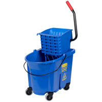 Rubbermaid FG758888BLUE WaveBrake&#174&#x3b; 35 Qt. Blue Mop Bucket with Side Press Wringer