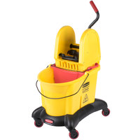 Rubbermaid FG767700YEL WaveBrake&#174&#x3b; 35 Qt. Yellow Dual Water Mop Bucket with Down Press Wringer and Dolly