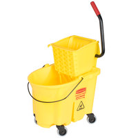 Rubbermaid FG758088YEL WaveBrake&#174&#x3b; 35 Qt. Yellow Mop Bucket with Side Press Wringer