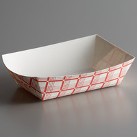 #250 2.5 lb. Red Check Paper Food Tray - 250/Pack