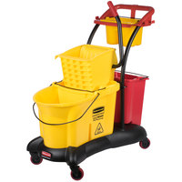 Rubbermaid FG778000YEL WaveBrake&#174&#x3b; 35 Qt. Yellow Mopping Trolley with Side Press Wringer