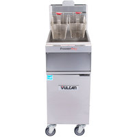 Vulcan 1TR45A-1 PowerFry3 Natural Gas 45-50 lb. Floor Fryer with Solid State Analog Controls - 70,000 BTU