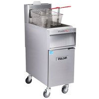 Vulcan 1TR45A-2 PowerFry3 Liquid Propane 45-50 lb. Floor Fryer with Solid State Analog Controls - 70,000 BTU