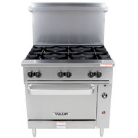 Vulcan 36S-6BN Endurance 6 Burner 36 inch Natural Gas Range with Standard Oven Base - 215,000 BTU