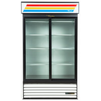 True GDM-41-HC-LD WH 47 inch White Refrigerated Sliding Glass Door Merchandiser with LED Lighting