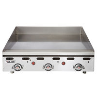 Vulcan MSA36-102 36 inch Countertop Liquid Propane Griddle with Snap Action Thermostatic Controls - 81,000 BTU