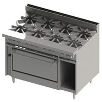 Blodgett BR-8-36C 8 Burner 48 inch Natural Gas Range with Convection Oven Base - 270,000 BTU