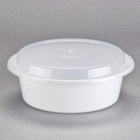 Pactiv Newspring NC729 32 oz. White 7 inch VERSAtainer Round Microwavable Container with Lid - 150/Case