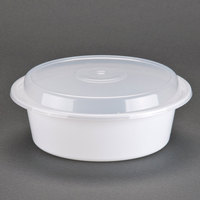 Newspring NC-729 32 oz. White 7 inch VERSAtainer Round Microwavable Container with Lid - 150/Case