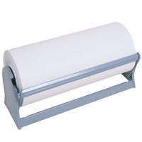 Bulman A527-24 Deluxe 24 inch Gray Steel All-In-One Paper Dispenser / Cutter with Serrated Blade