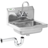 Regency 17 inch x 15 inch Wall Mounted Hand Sink with 8 inch Gooseneck Faucet and P-Trap