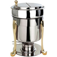 Eastern Tabletop 3107FS 7 Qt. Brass Accented Stainless Steel Sauce / Soup Marmite with Freedom Stand and Hinged Lid