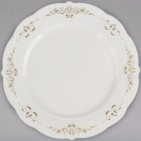 Fineline 5975-BOG Heritage 7 1/2 inch Round Bone / Ivory Plastic Plate with Gold Trim - 120/Case