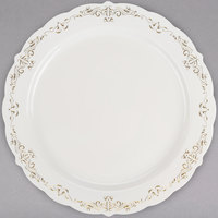 Fineline 5910-BOG Heritage 10 inch Round Bone / Ivory Plastic Plate with Gold Trim - 120/Case