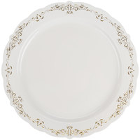 "Fineline 5910-BOG Heritage 10"" Round Bone / Ivory Plastic Plate with Gold Trim - 120/Case"
