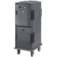 Cambro UPCHT8002191 Granite Gray Ultra Camcart Two Compartment Heated Holding Pan Carrier with Casters, Top Compartment Heated - 220V (International Use Only)