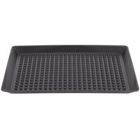 HS Inc. HS1065 16 inch x 11 inch Charcoal Polypropylene Pizza Pleezer Pizza Tray - 12/Case