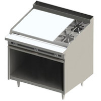 Blodgett BR-36G-2 2 Burner 48 inch Manual Natural Gas Range with Left Side 36 inch Griddle and Cabinet Base - 132,000 BTU