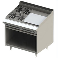 Blodgett BR-4-24G 4 Burner 48 inch Manual Liquid Propane Range with Right Side 24 inch Griddle and Cabinet Base - 168,000 BTU