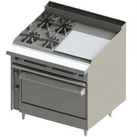 Blodgett BR-4-24G-36 4 Burner 48 inch Manual Natural Gas Range with Right Side 24 inch Griddle and Standard Oven Base - 198,000 BTU