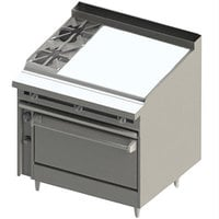 Blodgett BR-2-36G-36 2 Burner 48 inch Manual Natural Gas Range with Right Side 36 inch Griddle and Oven Base - 162,000 BTU