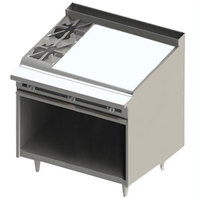 Blodgett BR-2-36G 2 Burner 48 inch Manual Natural Gas Range with Right Side 36 inch Griddle and Cabinet Base - 132,000 BTU