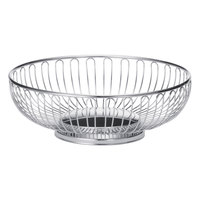 Tablecraft 4177 Small Round Chrome Basket - 7 1/2 inch x 2 5/8 inch