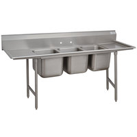 Advance Tabco 9-83-60-18RL Super Saver Three Compartment Pot Sink with Two Drainboards - 103 inch