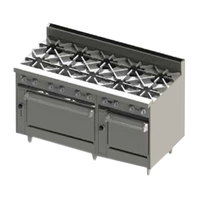 Blodgett BR-10-2436 Natural Gas 10 Burner 60 inch Range with Double Oven Base - 360,000 BTU