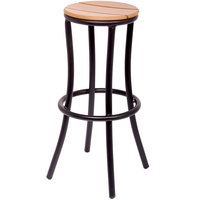 BFM Seating MS6074STKBL Norden Outdoor / Indoor Black Aluminum and Synthetic Teak Barstool