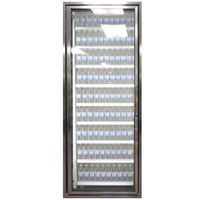 Styleline CL2672-NT Classic Plus 26 inch x 72 inch Walk-In Cooler Merchandiser Door with Shelving - Anodized Bright Silver, Left Hinge